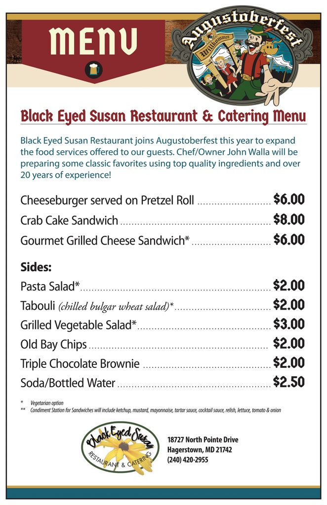 Black Eyed Susan Menu